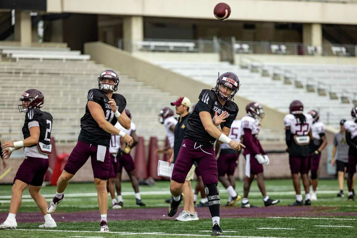 Quarterback Ty Evans, who came over from North Carolina State, is one of 49 transfers on Texas State's roster.