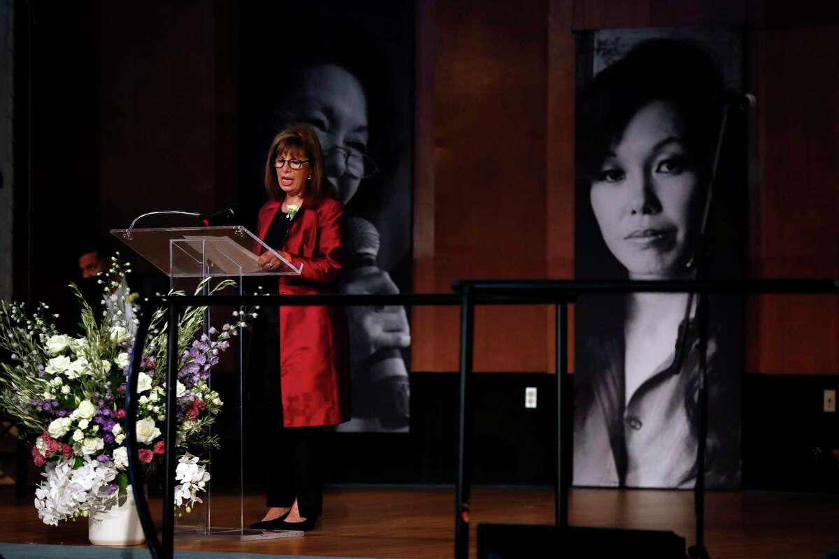 Rep. Jackie Speier speaks during a celebration of life of Janice Mirikitani, co-founder and former Glide Foundation president,
