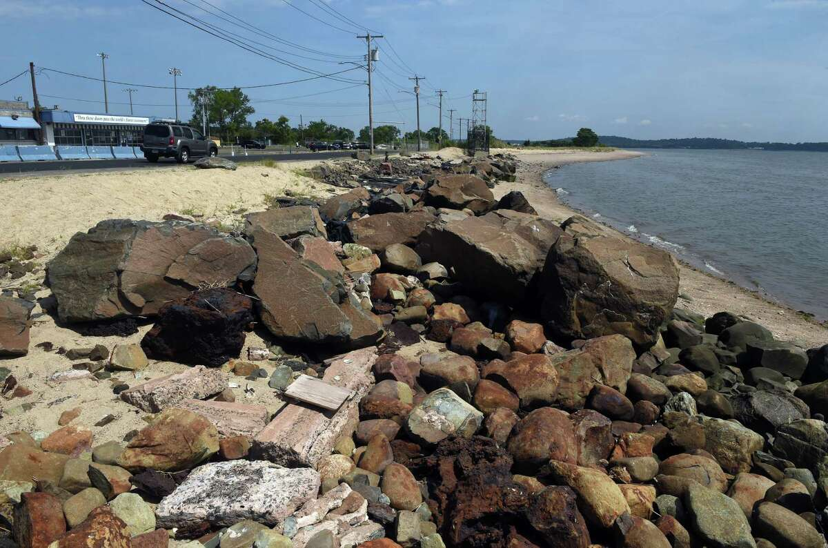 The eroded beach on Beach Street in front of the former Chick's Drive-In in West Haven Aug. 13, 2021.