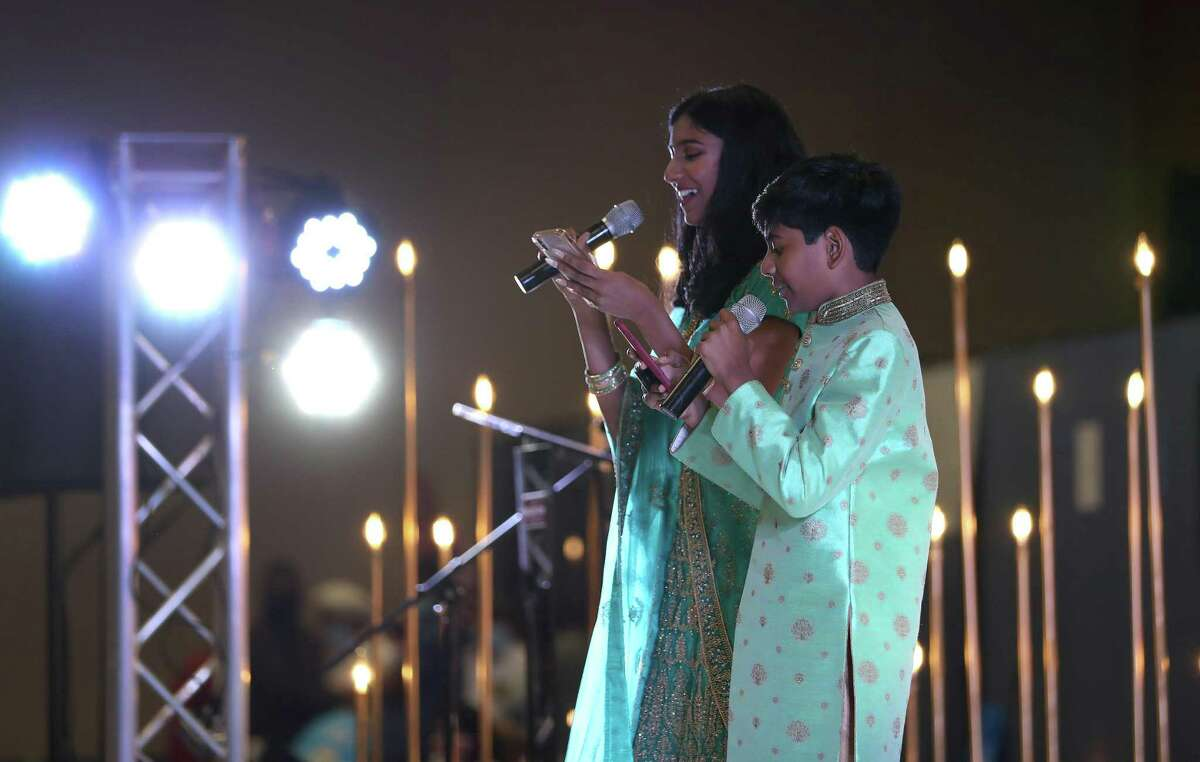 Neha Gadde, 14, and her brother, Neel Gadde, 12, perform on stage during the India Culture Center's 75th Independence Day of India Celebration at the Stafford Centre, Sunday, August 15, 2021, in Stafford.