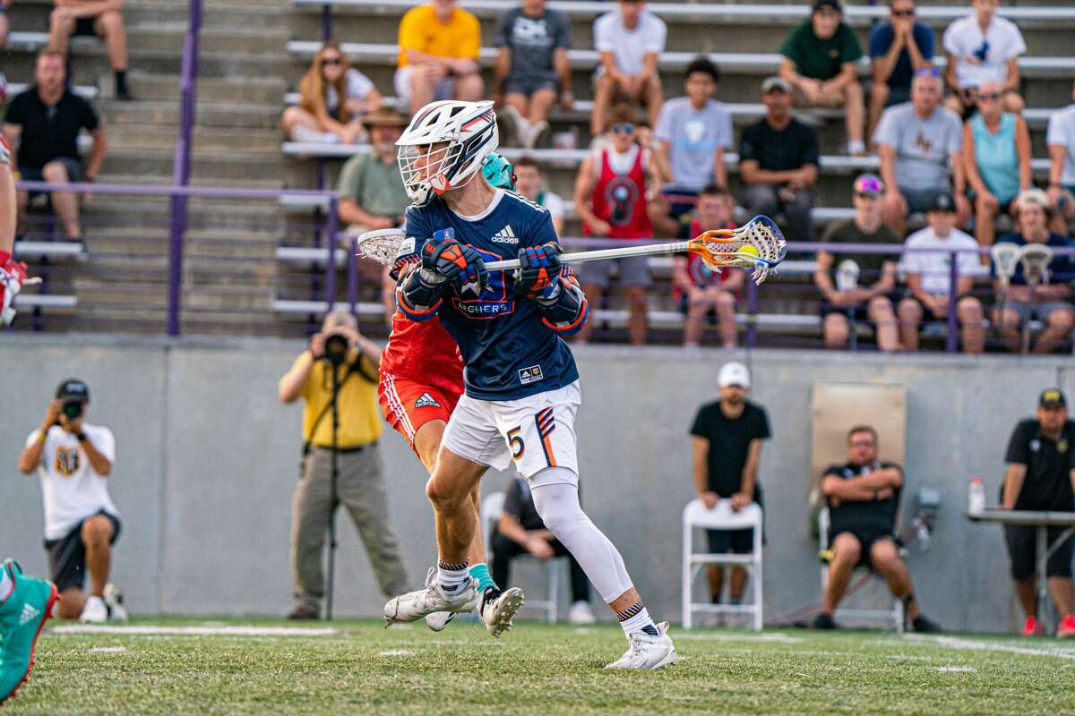Connor Fields hits the game-winning shot for Archers in overtime over Whipsnakes, lifting his team to a 15-14 victory in the Premier Lacrosse League 2021 season finale at Tom and Mary Casey Stadium at the University at Albany on Sunday, Aug. 15, 2021.