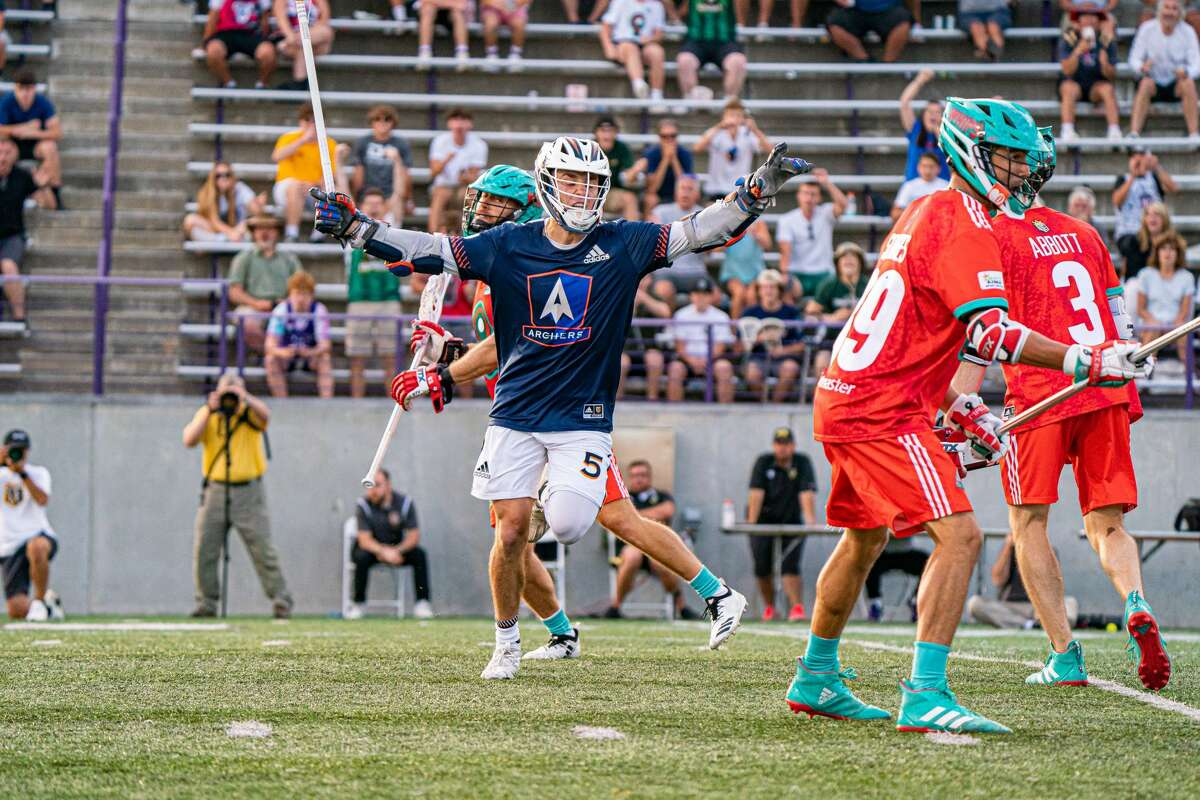 Connor Fields leaps after hitting the game-winning shot for Archers in overtime over Whipsnakes, lifting his team to a 15-14 victory in the Premier Lacrosse League 2021 season finale at Tom and Mary Casey Stadium at the University at Albany on Sunday, Aug. 15, 2021.