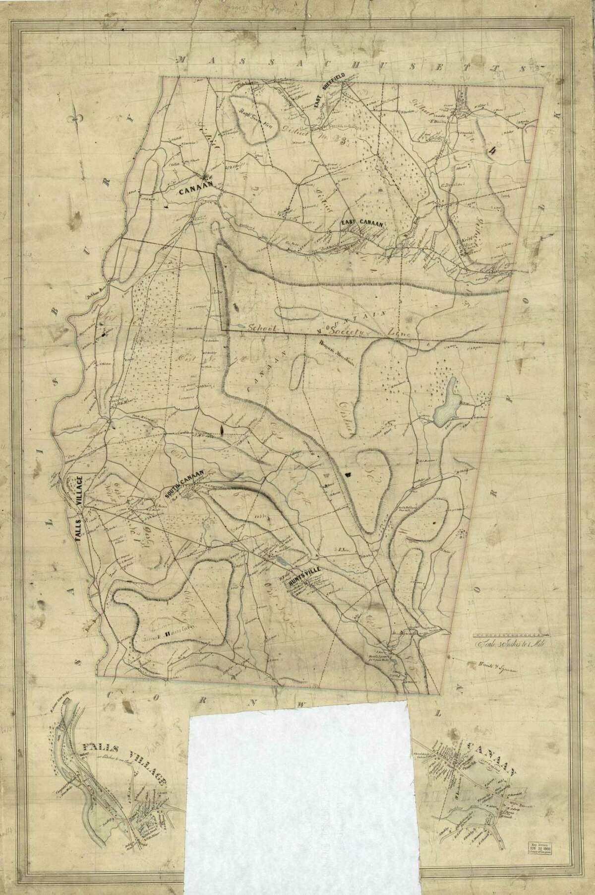 A map of the town of Canaan from 1853