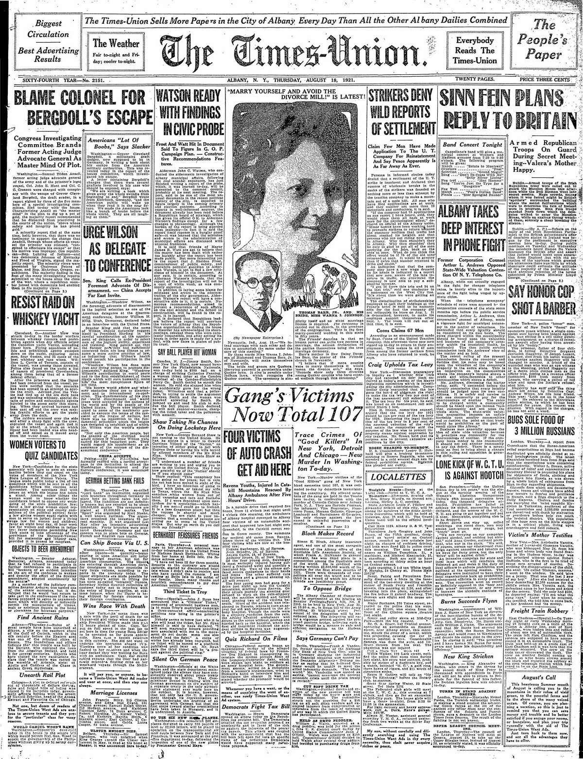 Front page of the Times Union, Aug. 18, 1921.