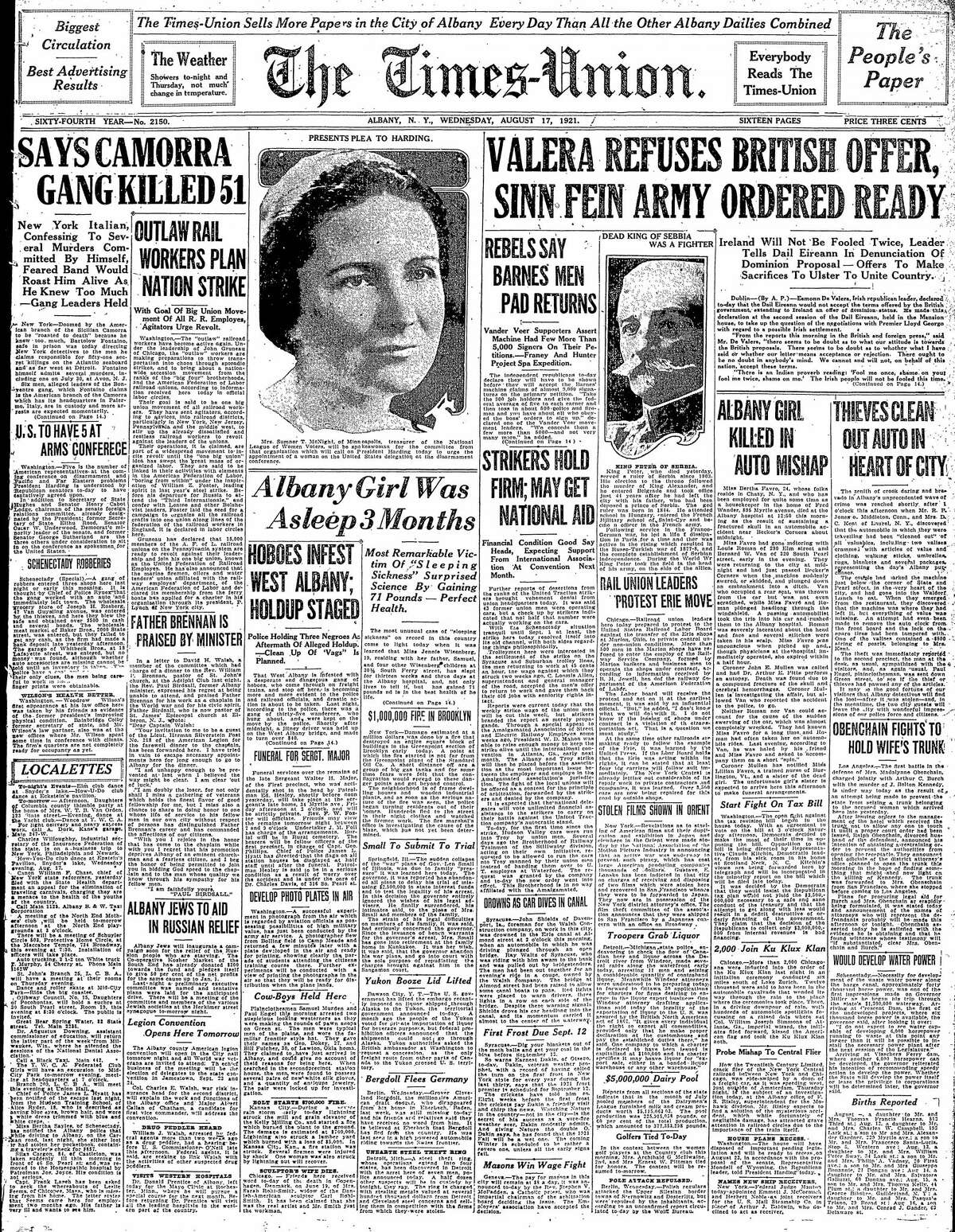 Front page of the Times Union, Aug. 17, 1921.