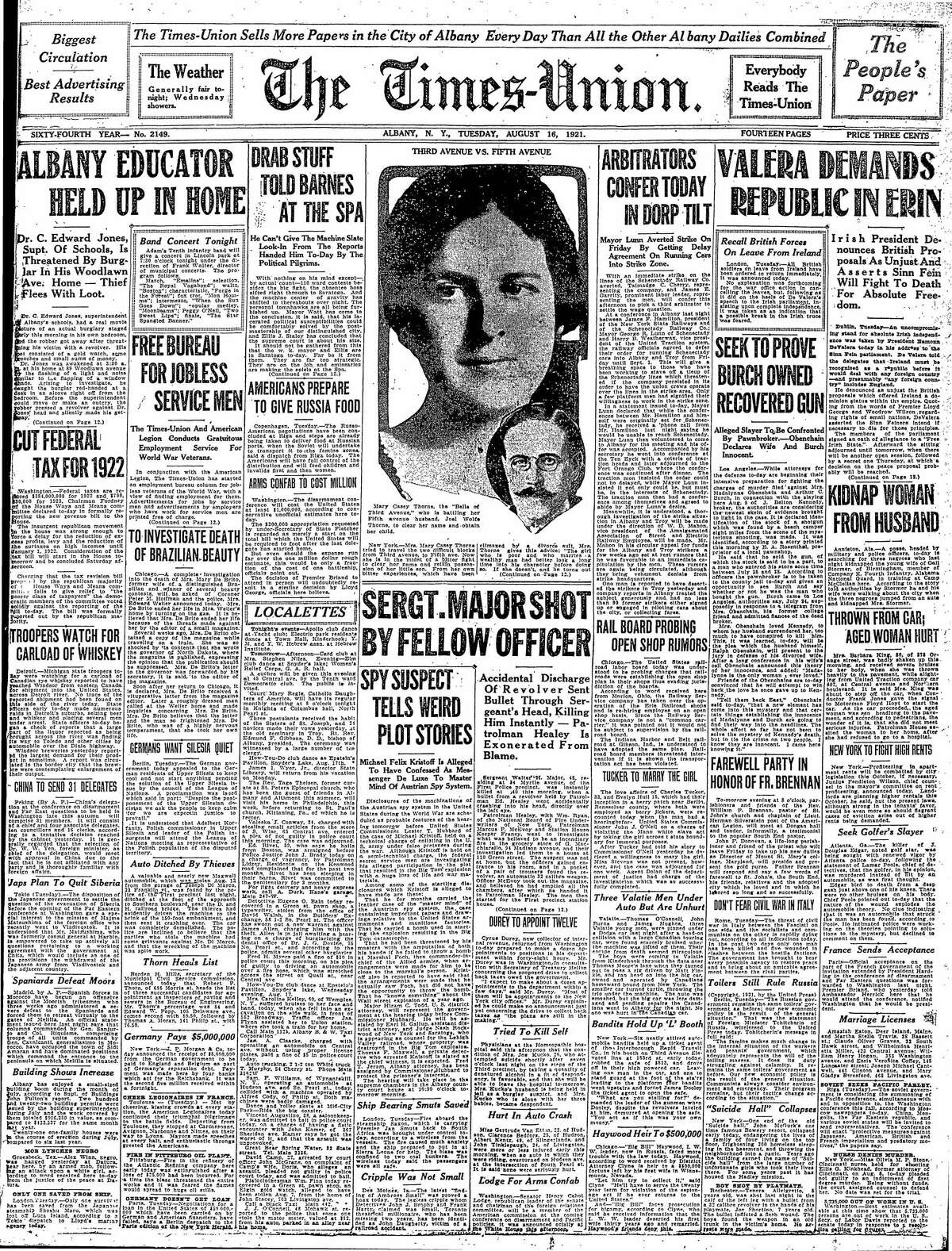 Front page of the Times Union, Aug. 16, 1921.