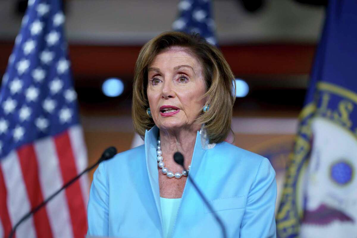 FILE - In this Aug. 6, 2021, file photo Speaker of the House Nancy Pelosi, D-Calif., meets with reporters at the Capitol in Washington.