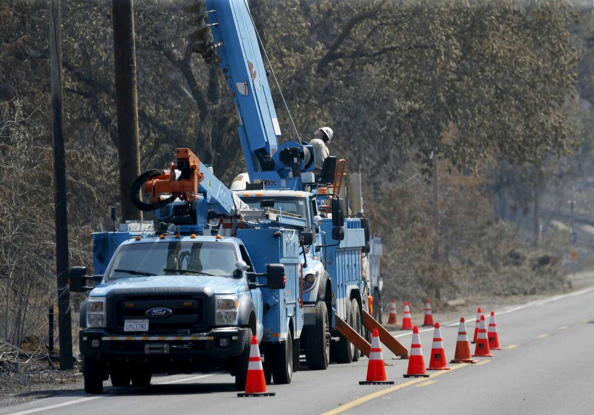 FILE -- PG&E had previously shut off power on Monday to about 24,000 customers in parts of 23 counties under similar conditions