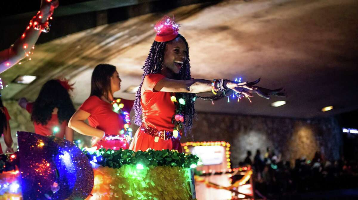 Floats made their way down the river during the Ford Holiday River Parade on the Riverwalk in downtown San Antonio, Texas on Friday, November 29, 2019. Billy Gibbons of ZZ Top was this year?•s grand marshal.