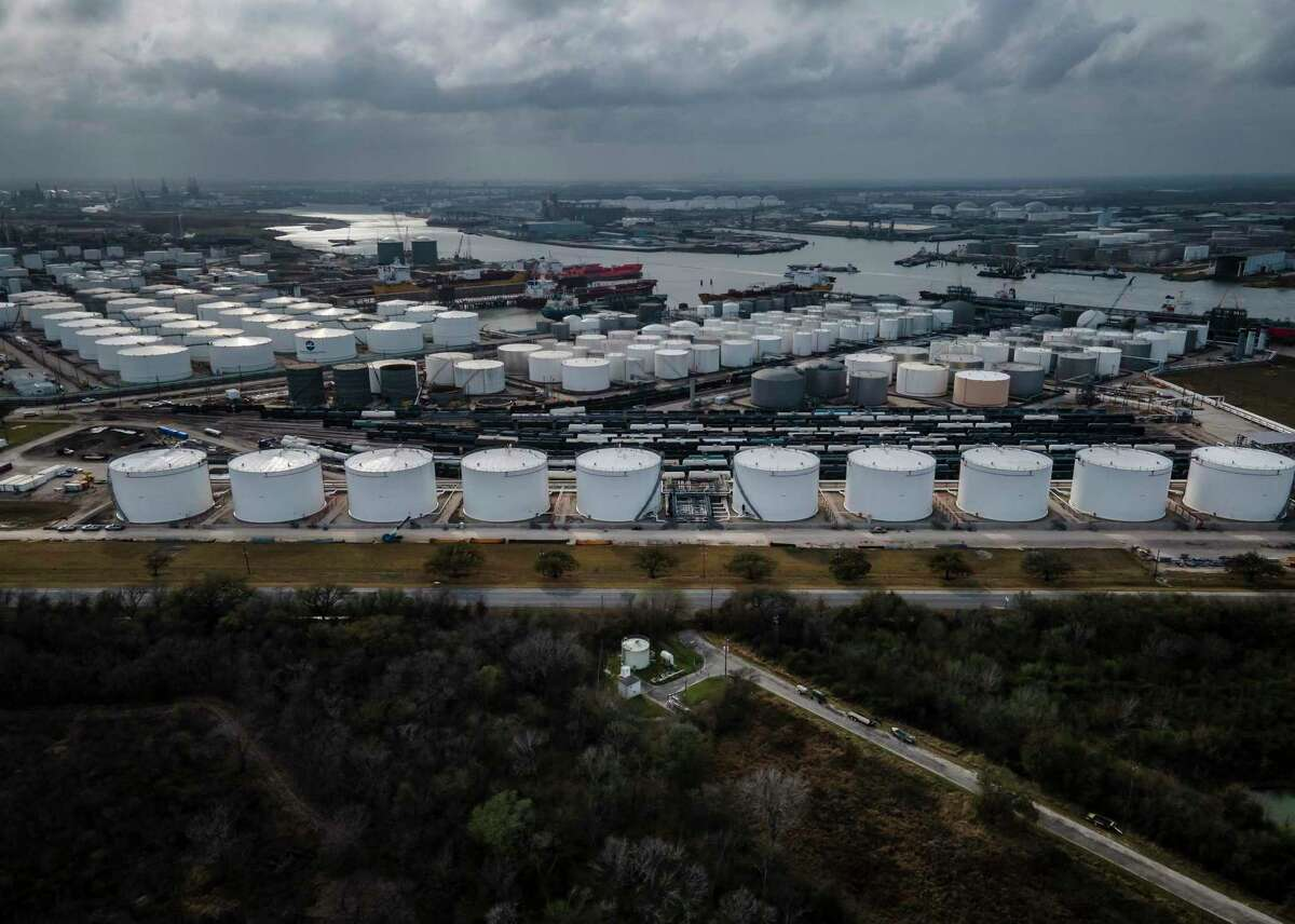 Storage tanks fill the landscape along the Houston Ship Channel on Thursday, March 11, 2021, in Deer Park, TX. A release occurred from a rail car Sunday Aug. 15, 2021 at Lubrizol.