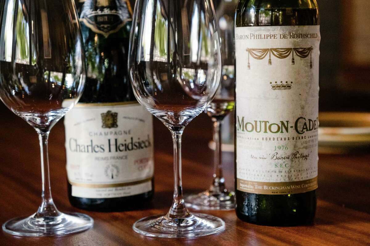 Vintage bottles of Champagne and wine are seen at Chezchez in San Francisco on Friday, August 13, 2021.