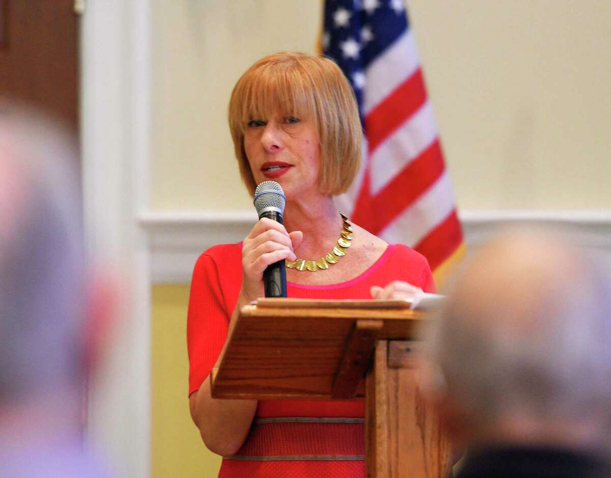 Terri Ann Lowenthal, an expert on Census and the policy it influences, speaks about the 2020 Census during the Retired Men's Association's weekly speaker series at First Presbyterian Church in Greenwich, Conn., Dec. 12, 2018.