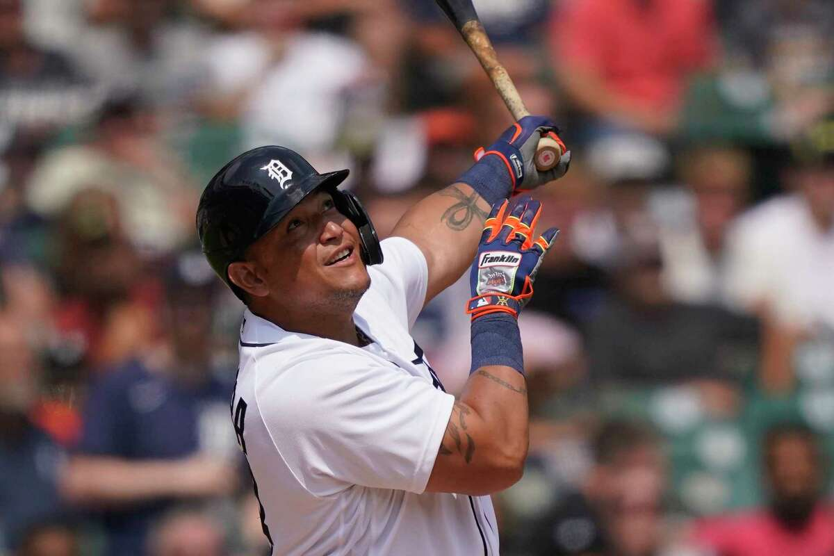 Detroit Tigers designated hitter Miguel Cabrera watches his foul out to right which allowed Robbie Grossman to score during the sixth inning of a baseball game against the Baltimore Orioles, Sunday, Aug. 1, 2021, in Detroit. (AP Photo/Carlos Osorio)