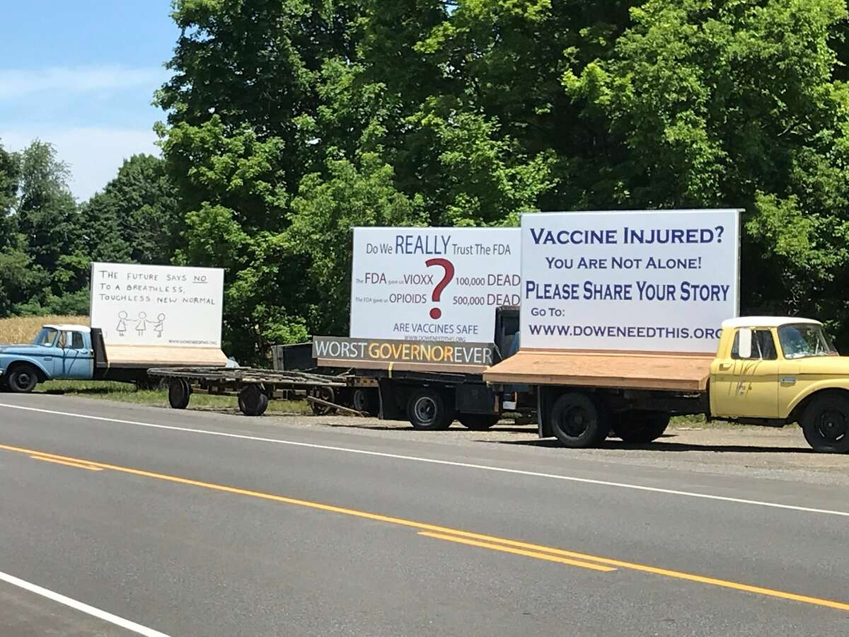 """Anti-vaccine propaganda by the group Do We Need This? photographed in Livingston last year. The organization plans to hold an anti-vaccine """"festival"""" this Saturday."""