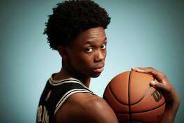 LAS VEGAS, NEVADA - AUGUST 14: Josh Primo #11 of the San Antonio Spurs poses for a portrait during the 2021 NBA rookie photo shoot on August 14, 2021 in Las Vegas, Nevada. (Photo by Joe Scarnici/Getty Images)