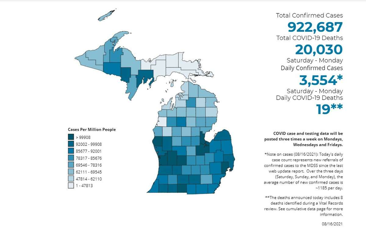 This is an image of the online map from the State of Michigan that shows the most recent data that healthcare experts across the state have compiled. Click here to access the map.