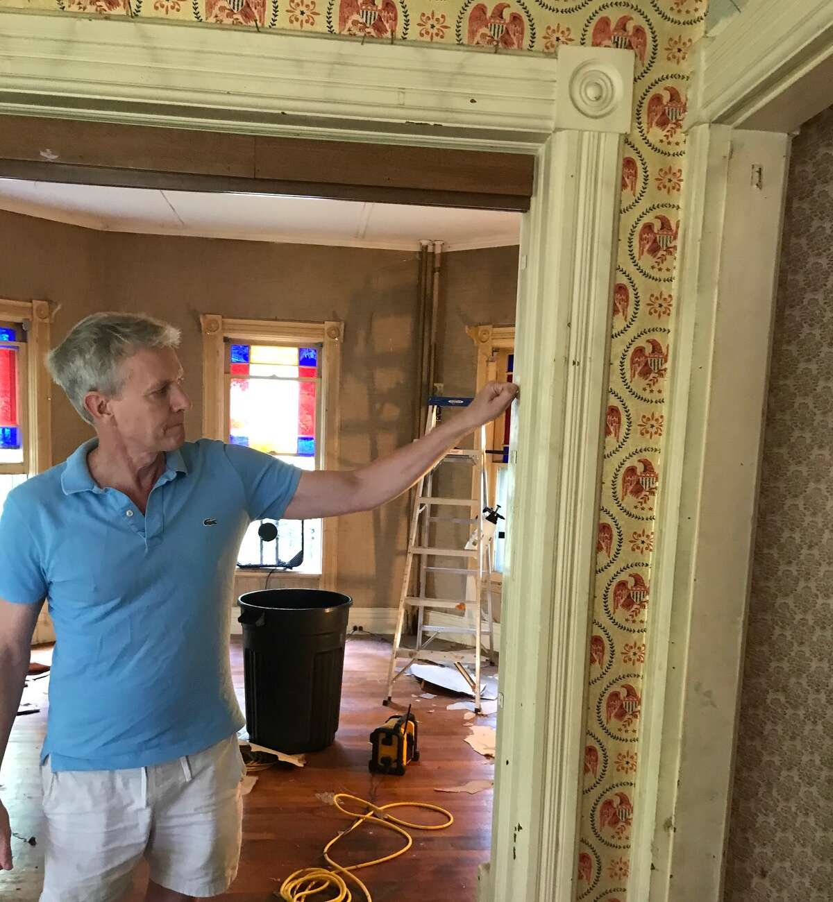 """Hanson-Kelly inside the cottage he is restoring with his husband Brendan. """"""""I feel like when you're doing projects like this you have to fight the urge to do things fast."""" he said. """"Because the longer we've had the house, the more our plans have changed."""""""