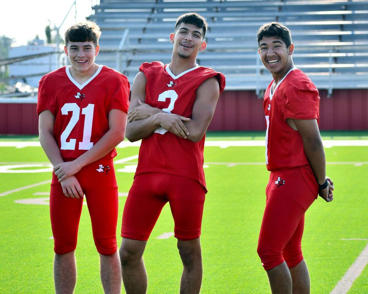 Seniors Austin Rodriquez (left), Nathan Ceniceros (center) and Pablo Morales credit the bond the Lockney football team created over the years for their breakthrough campaign in 2020.