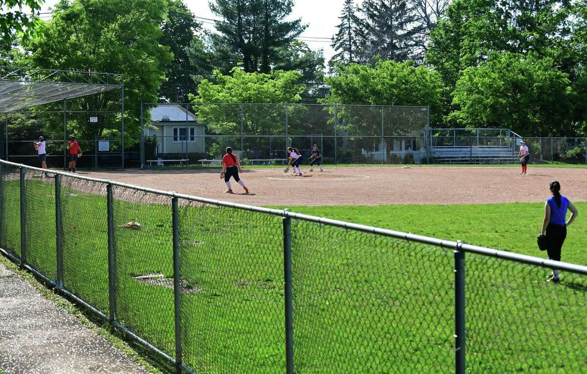 The Brien McMahon High School softball field in front of the school Tuesdaym May 18, 2021, in Norwalk, Conn.