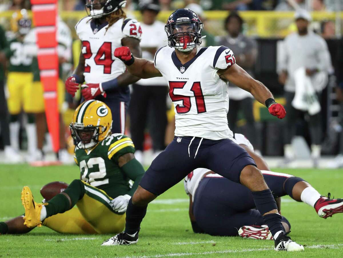 Packers running back Kylin Hill was at a loss for words - and yards - after being stopped by Texans outside linebacker Kamu Grugier-Hill during the second quarter of Saturday's preseason game at Lambeau Field.