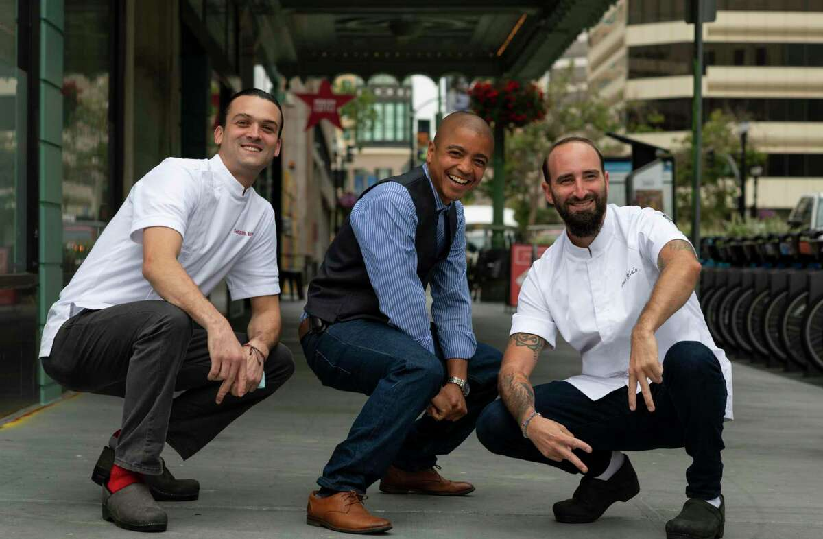 Chef Sebastian Brown (left to right), co-owner Darrin Ballon and co-owner Omri Aflalo are opening Tribune in Oakland.