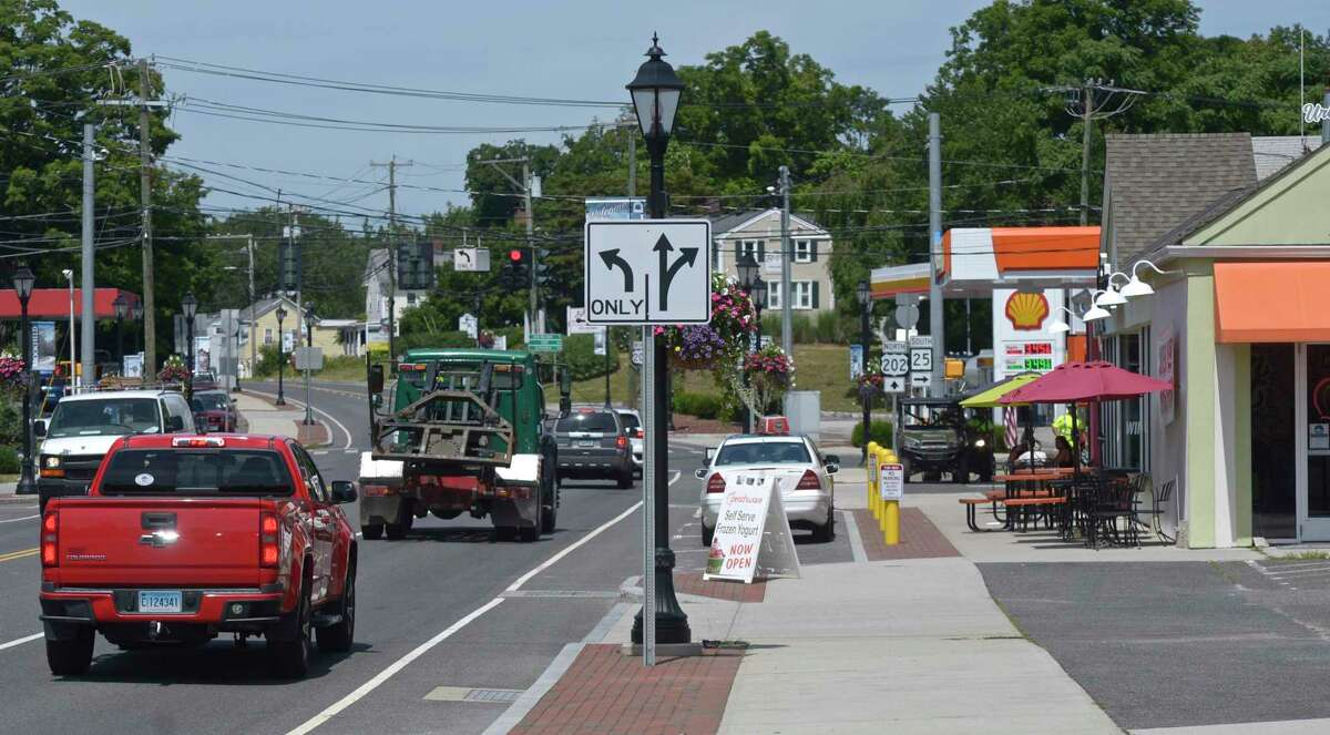 The four corners area of Brookfield, Conn, Monday, August 16, 2021.