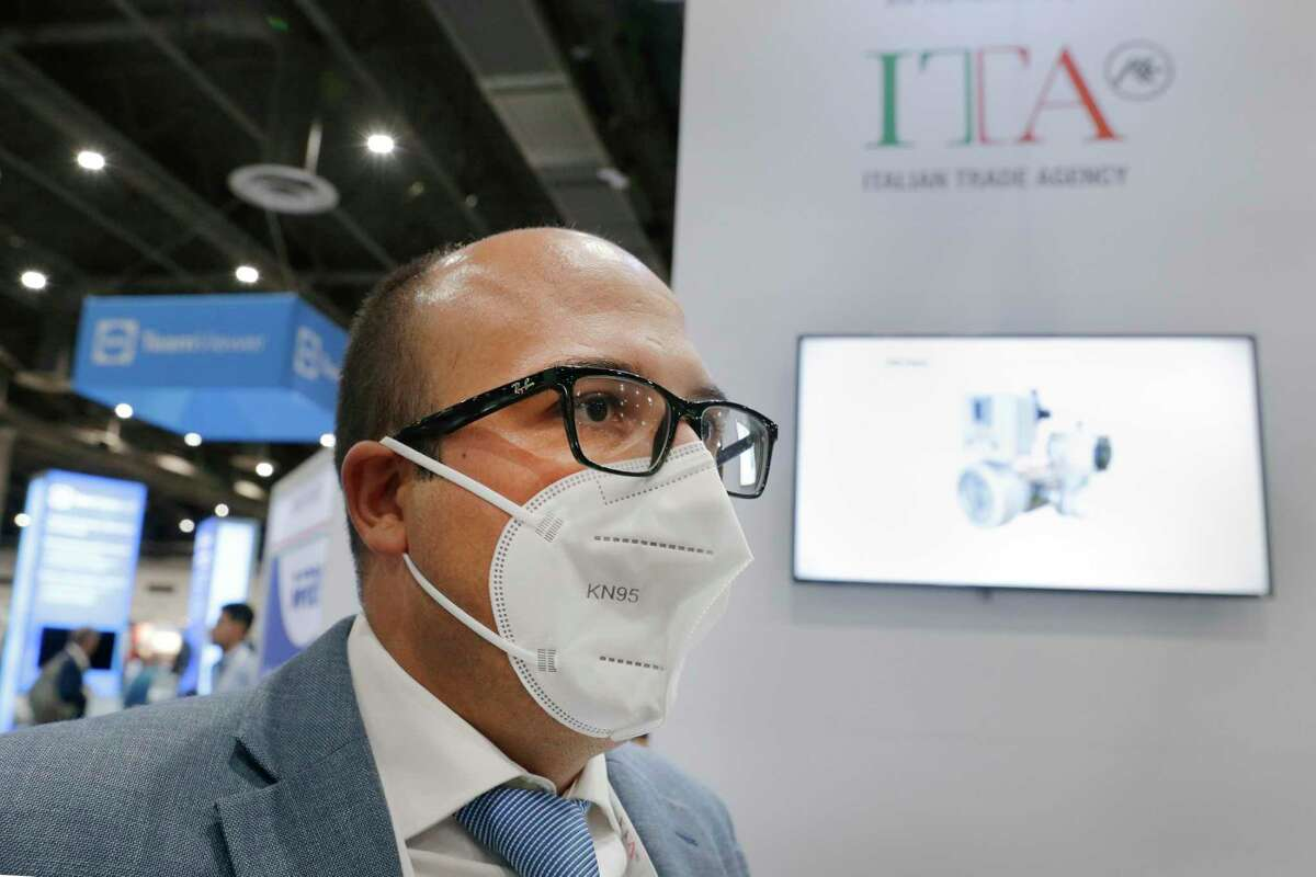 Salvatore Grignano, marketing and promotion officer of the Italian Trade Agency at their booth during day 1 of the Offshore Technology Conference, held at the NRG Center Monday, Aug. 16, 2021 in Houston, TX.