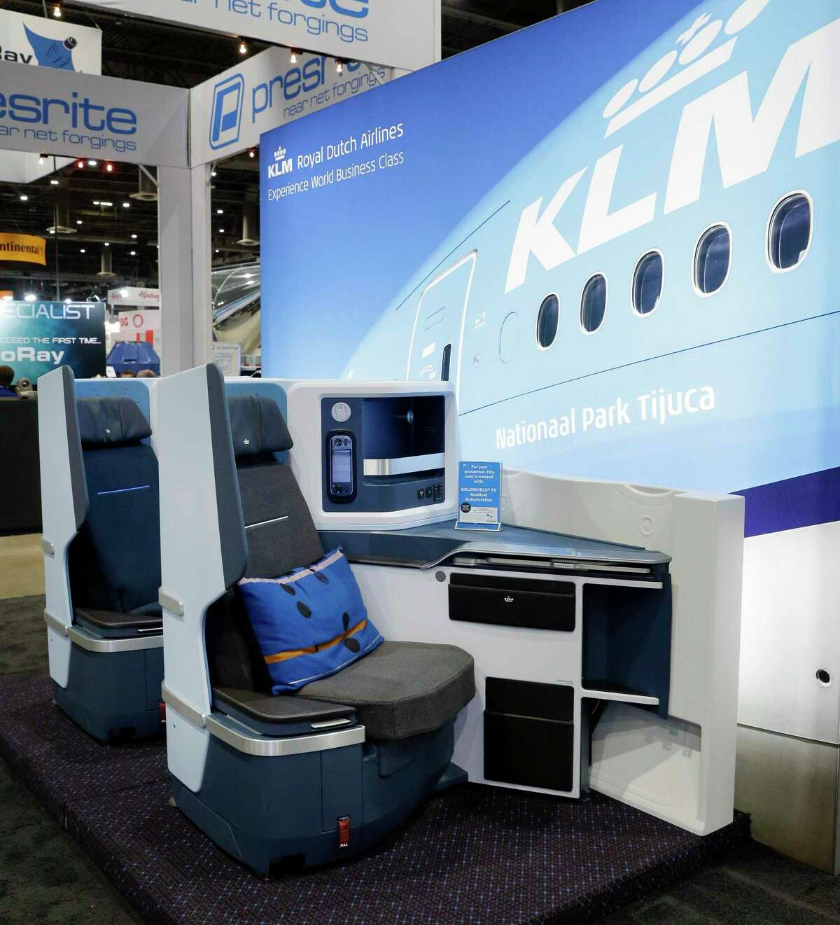 A mock up of business class seating at the KLM Airlines booth during day 1 of the Offshore Technology Conference, held at the NRG Center Monday, Aug. 16, 2021 in Houston, TX.