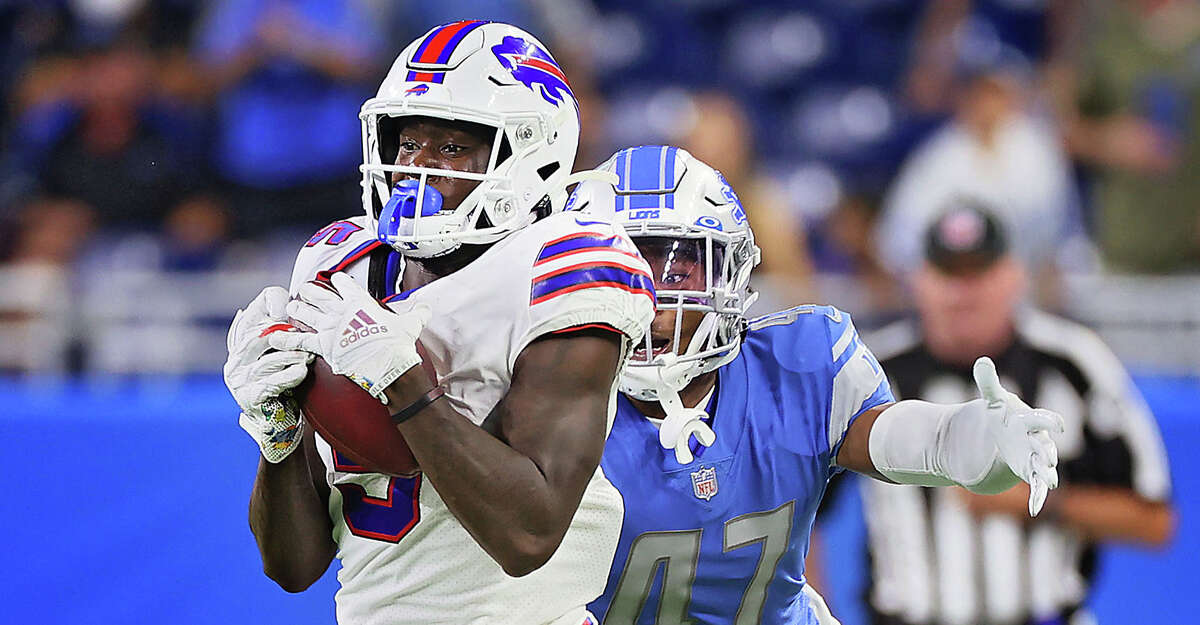 Buffalo Bills wide receiver Marquez Stevenson (5) is pulled down by Detroit Lions long snapper Scott Daly (47) during the second half of an NFL preseason football game between the Detroit Lions and the Buffalo Bills in Detroit, Michigan USA, on Friday, August 13, 2021. (Photo by Amy Lemus/NurPhoto via Getty Images)