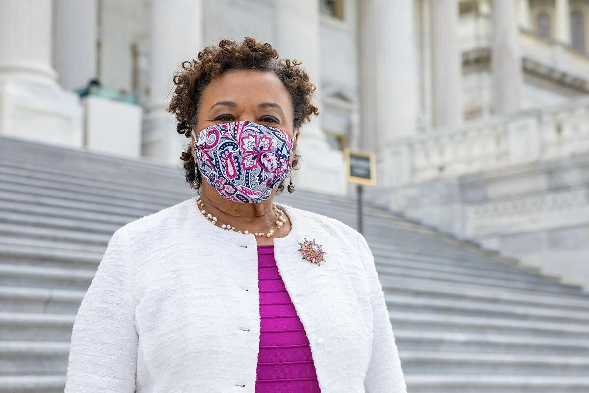 Rep. Barbara Lee, a Democrat who represents California's 13th district, poses for a portrait while walking on the steps of the US Capitol in Washington, D.C. on Tuesday, June 15, 2021.