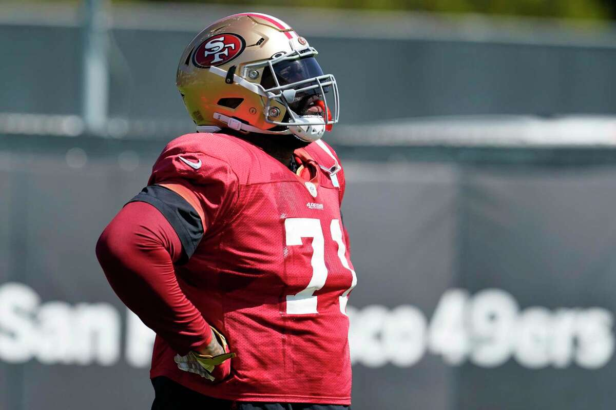 San Francisco 49ers offensive tackle Trent Williams practices at training camp in Santa Clara on Aug. 10. He limped off the field Monday and his condition is being evaluated.