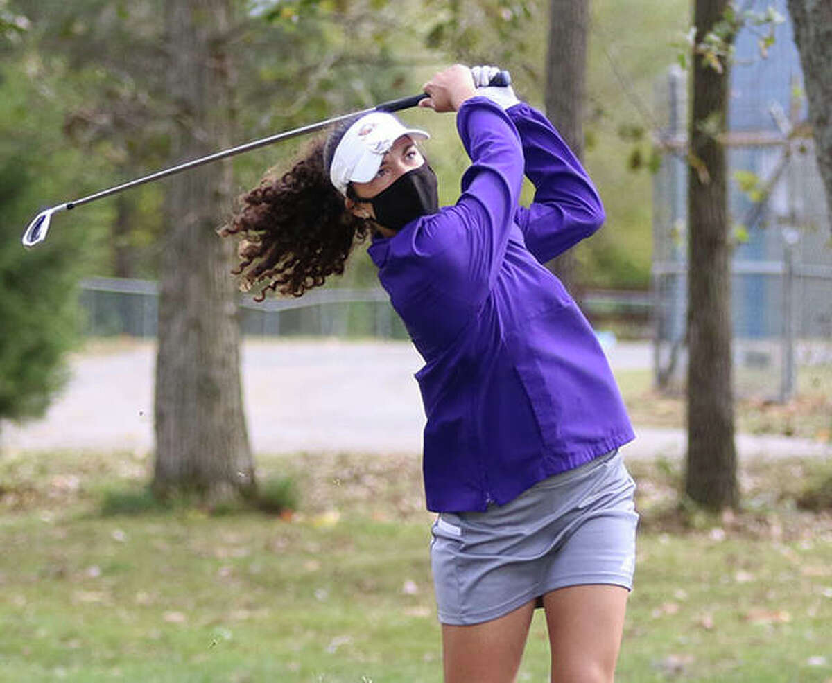 CM's Sophee Brown, shown at the Salem Sectional last season, shot 41 to earn medalist in a triangular Monday at Cloverleaf golf course in Alton.