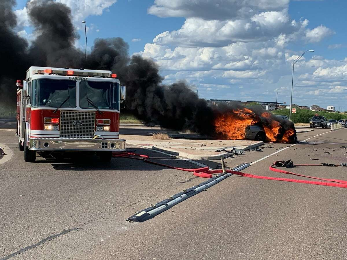 A vehicle was found on fire with another rolled over after an accident Monday.