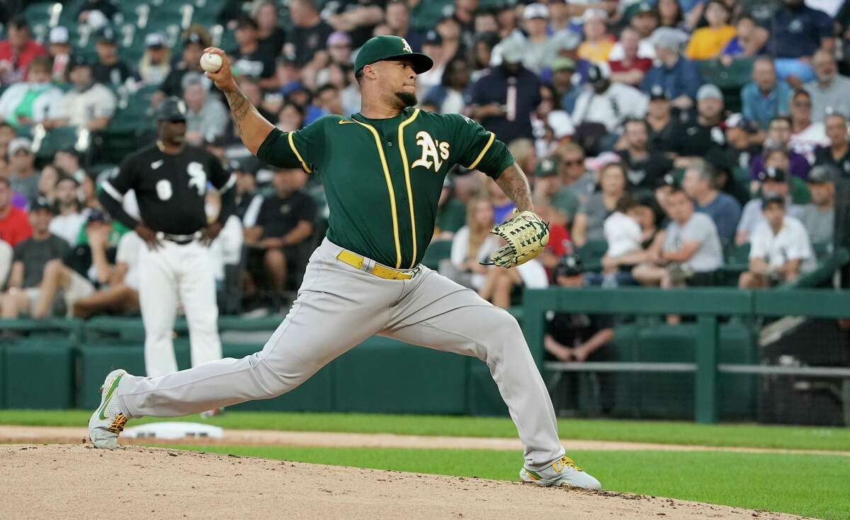 A's starter Frankie Montas used 99 pitches to complete five innings. He walked three batters and struck out six.