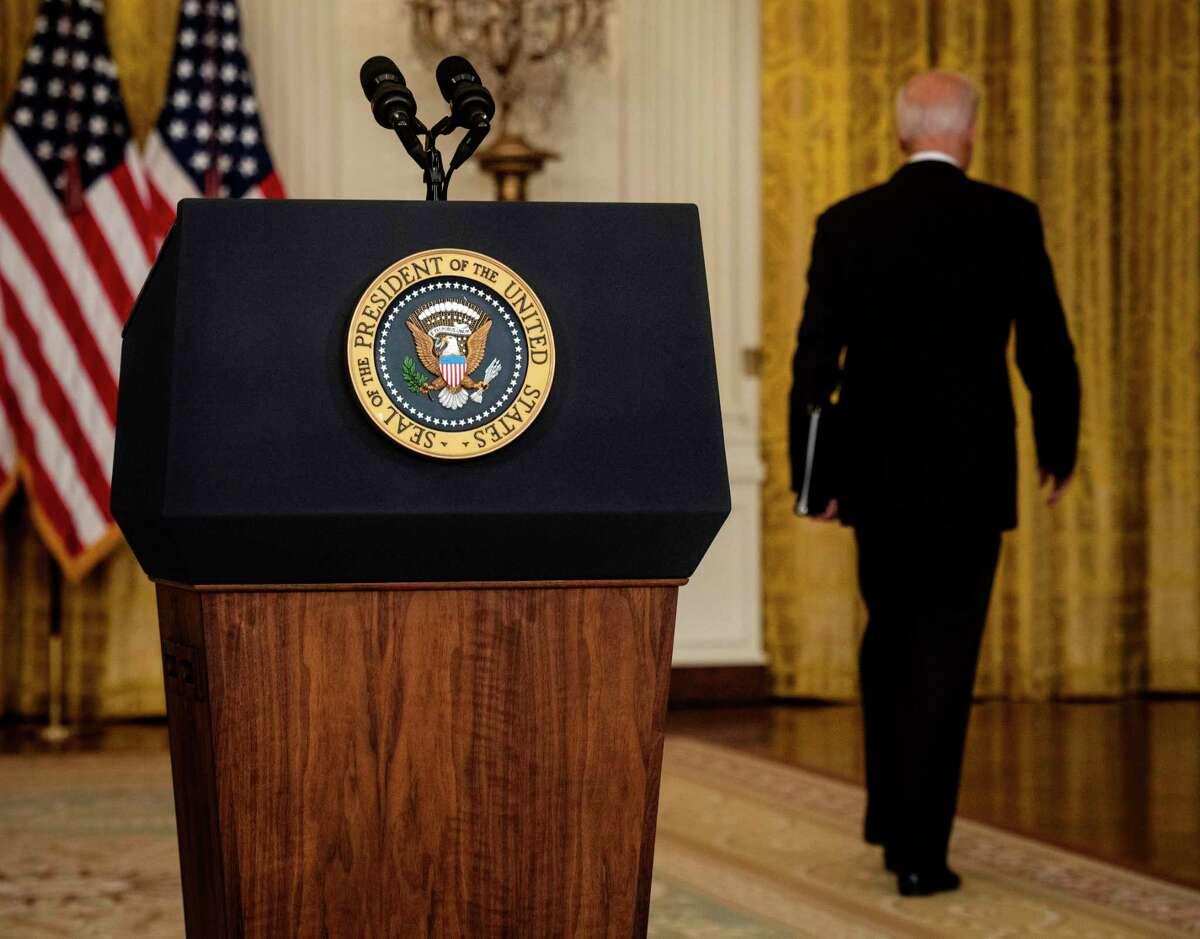 Preisdent Joe Biden walks away Monday after delivering remarks on the situation in Afghanistan.