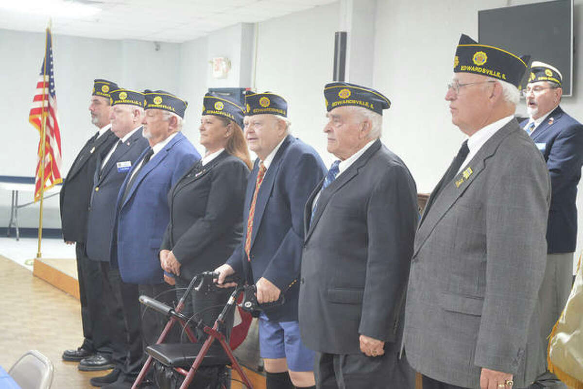 Officers installed during Sunday's installation ceremony at Edwardsville American Legion Post 199 included, left to right, Senior Vice Commander Wes Sterling, Junior Vice Commander Al Mahan, Financial Officer John Pinegar, Adjutant Lorra Sabo, Historian Mick Ahrens, Judge Advocate Marion Strohman and Commander Ronald Swaim. Not pictured is Sergeant at Arms Larry Miller.