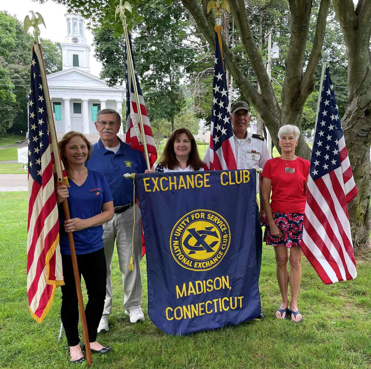 Madison's Healing Field Committee (l-r) Jennifer Tung, Dun Heenan, Christine Beirne, Charlie Corso and Pam McKinnon, stand on the town green where the field of flags will fly in honor of Sept. 11.