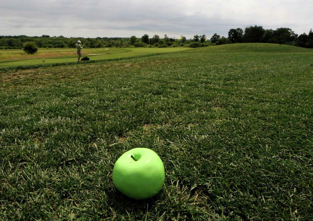 The Golf Center at Lyman Orchards and Lyman's new Apple Nine Course, in Middlefield. Tee markers cast from an apple. Mara Lavitt/New Haven Register 6/11/12