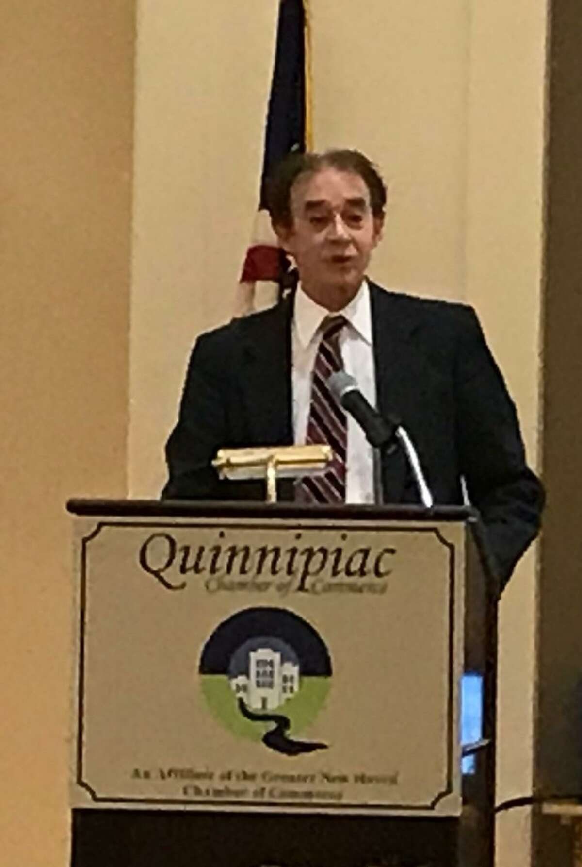 Wallingford Mayor William Dickinson Jr. speaks to members of the Quinnipiac Chamber of Commerce in 2019.