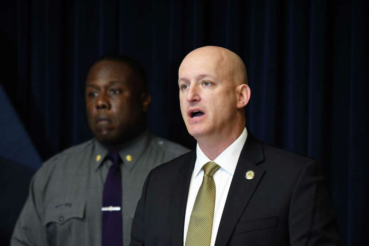 Lt. Robert Appleton, of the State Police Troop G Bureau of Criminal Investigation, right, and NYS Police Major R. Christopher West, left, comment on the June 9 killing of Nathaniel M. Miller, 19, at a home in Pittstown on Tuesday, Aug. 17, 2021, at Troop G Headquarters in Colonie, N.Y.