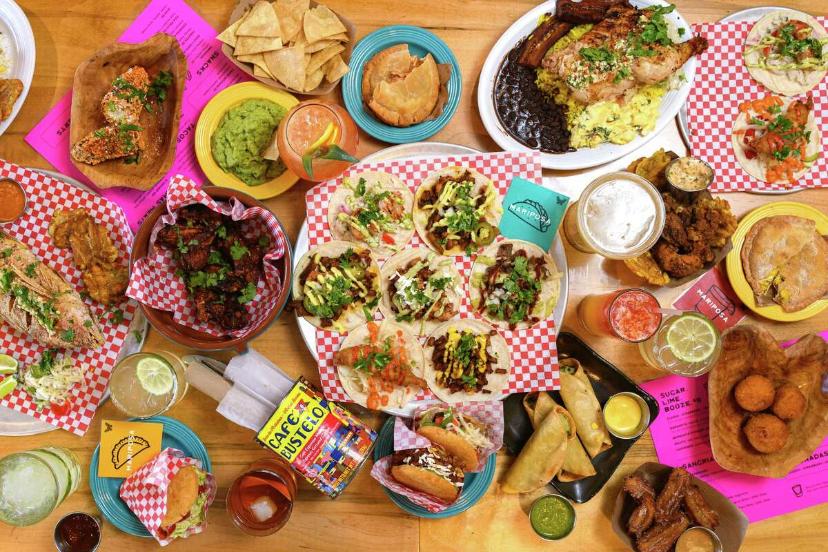 A spread of tacos and other menu items from Mariposa Taqueria in Danbury
