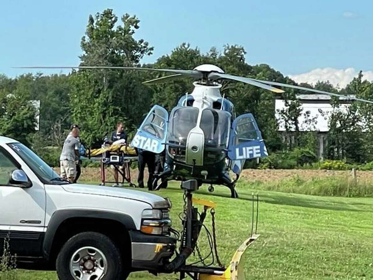 Units at the scene of a rope rescue after an ATV crash in East Windsor, Conn., on Saturday, Aug. 14, 2021.