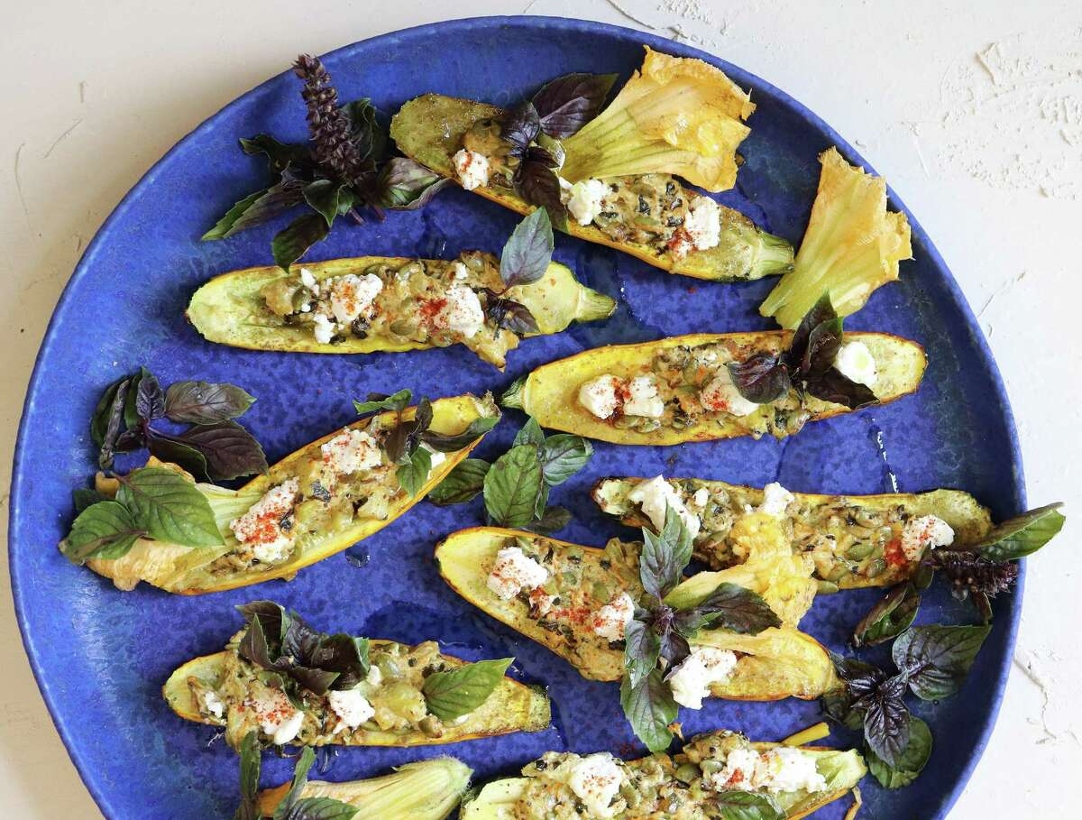Roasted Zucchini with Blossoms incorporates the squash's blooms for an eye-pleasing plate.