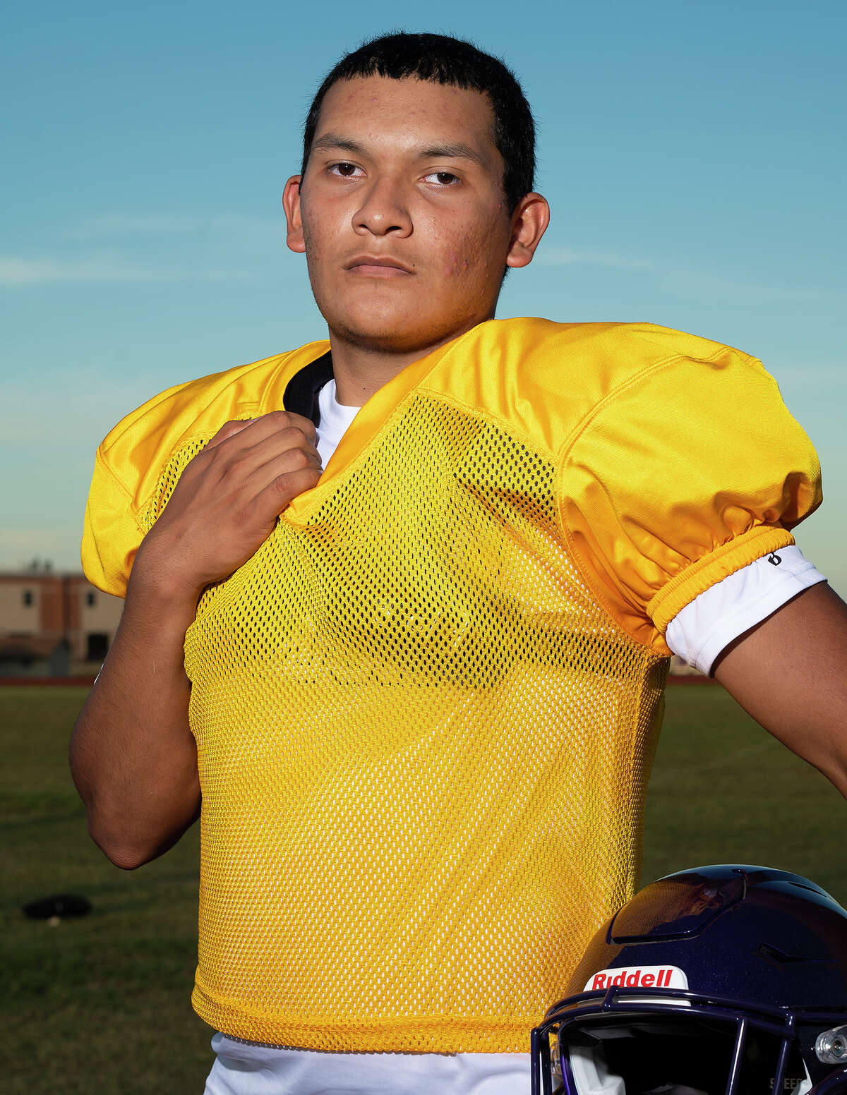 Lyndon B. Johnson High School football newcomer Raul Cantu poses for the LMT Football preview, Monday, Aug. 16, 2021, at LBJ High School.