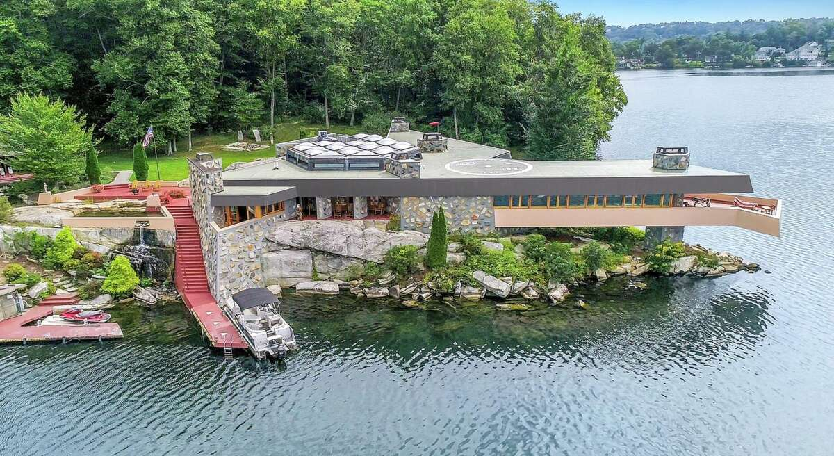 The property sits on a 10-acre private island that is accessible by boat or helicopter.