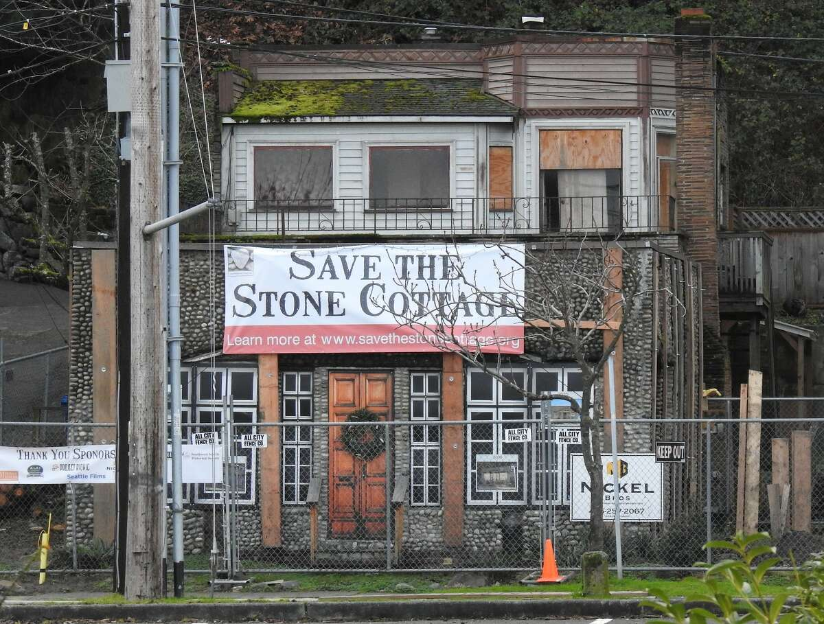 Exterior of West Seattle's historic stone cottage.