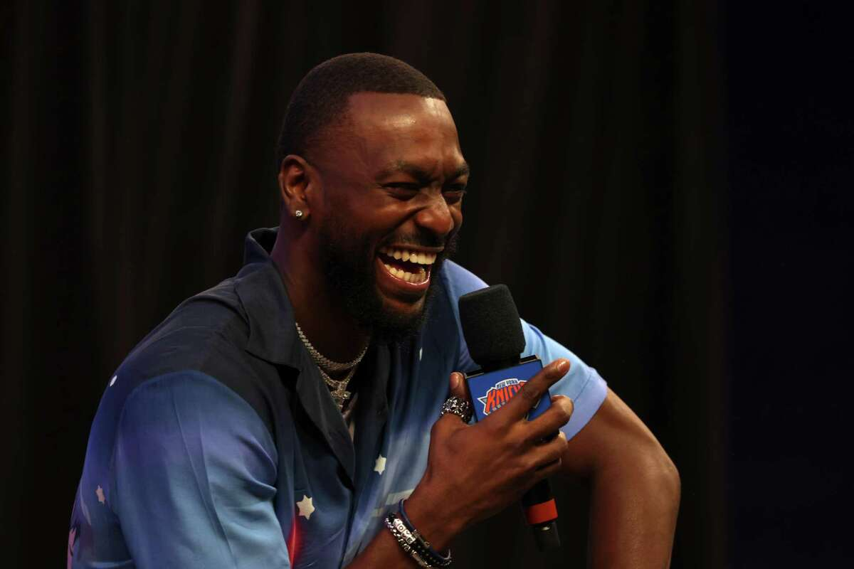 Kemba Walker laughs during his introductory press conference with Knicks on Tuesday in New York.