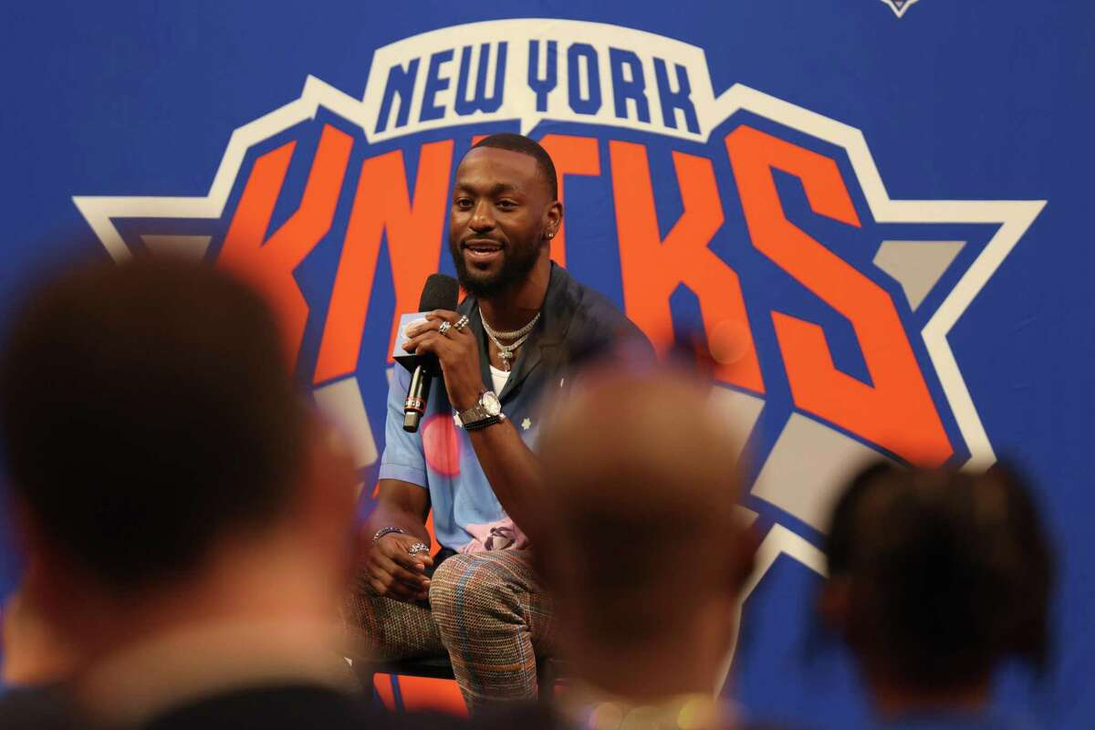 Kemba Walkers speaks during his introductory press conference with the Knicks on Tuesday at Madison Square Garden in New York.