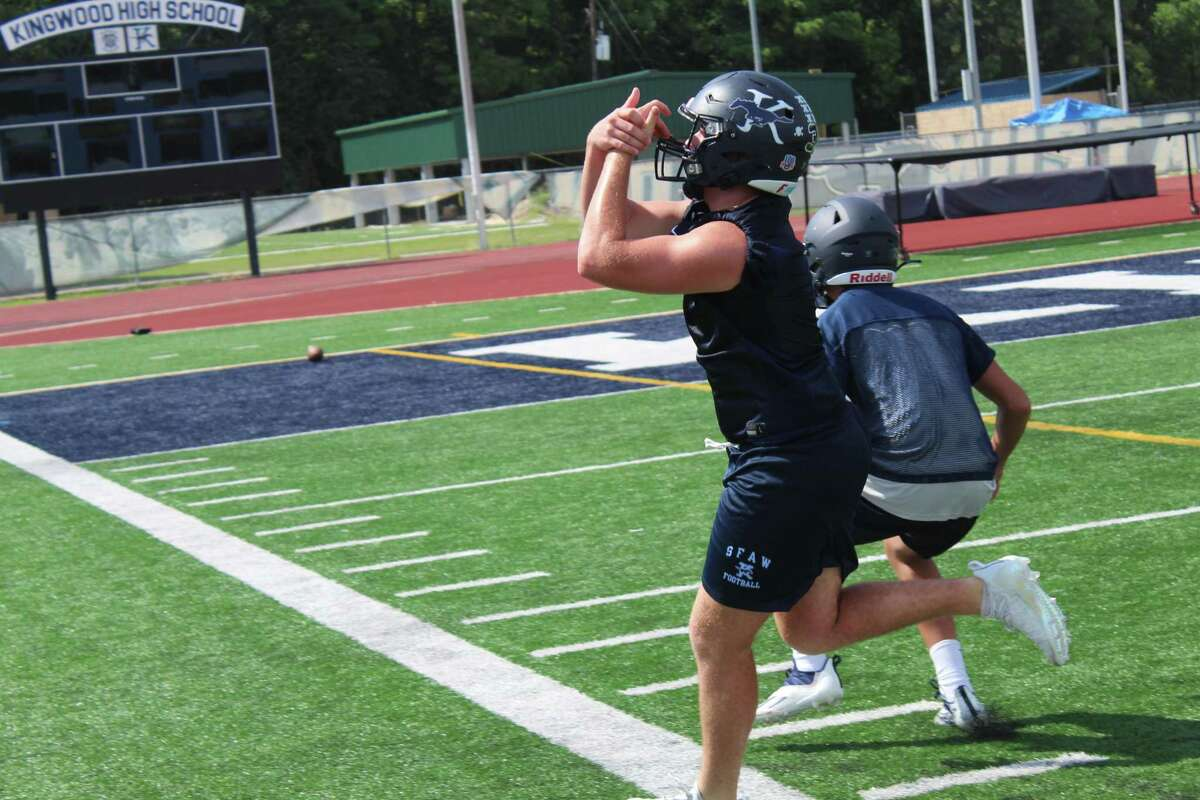 Kingwood linebacker Cameron Burkes going through defensive drills on the second day of fall camp.