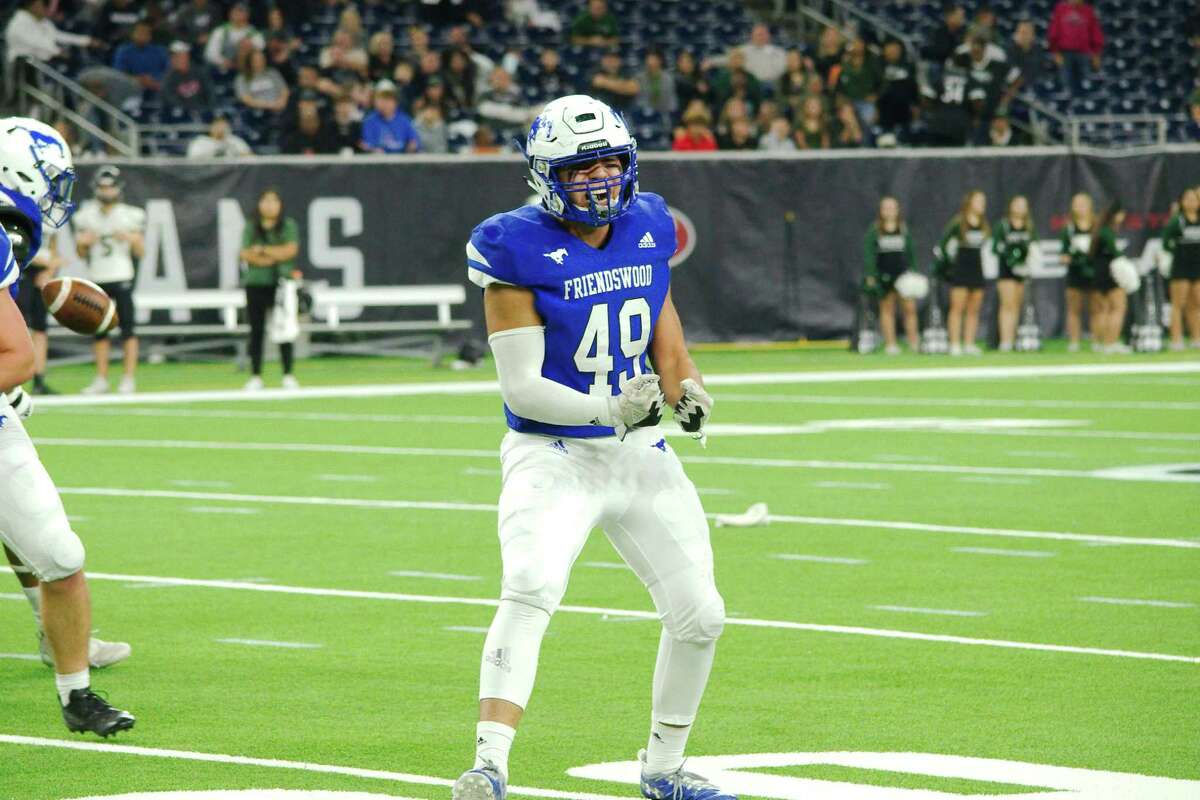 Friendswood's Matthew Reyes (49) is helping lead the Mustang defensive charge while playing tight end for the FHS offense.